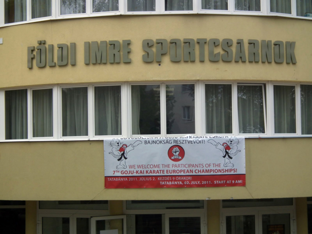 Sports hall with a banner