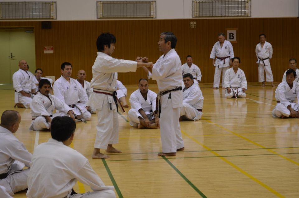 Goshi Yamaguchi and his son Showing Sanchin Bunkai Kata